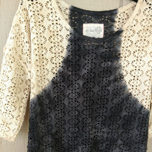 Free People dip dye crochet top navy blue cream